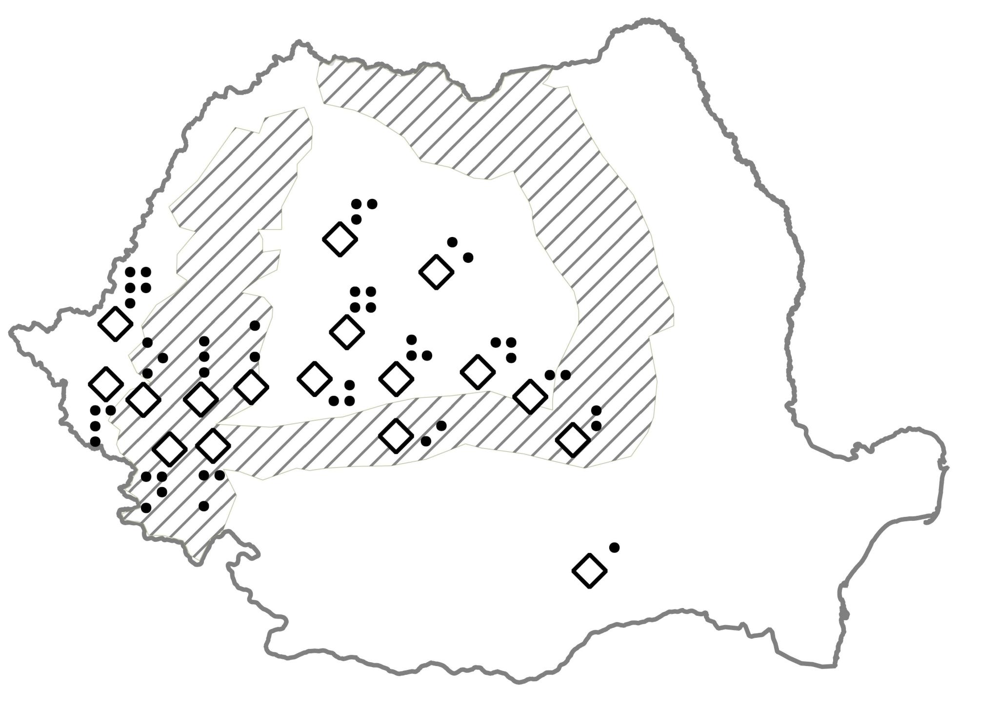 Harta cu orașele în care au avut loc revolte în decembrie 1989
