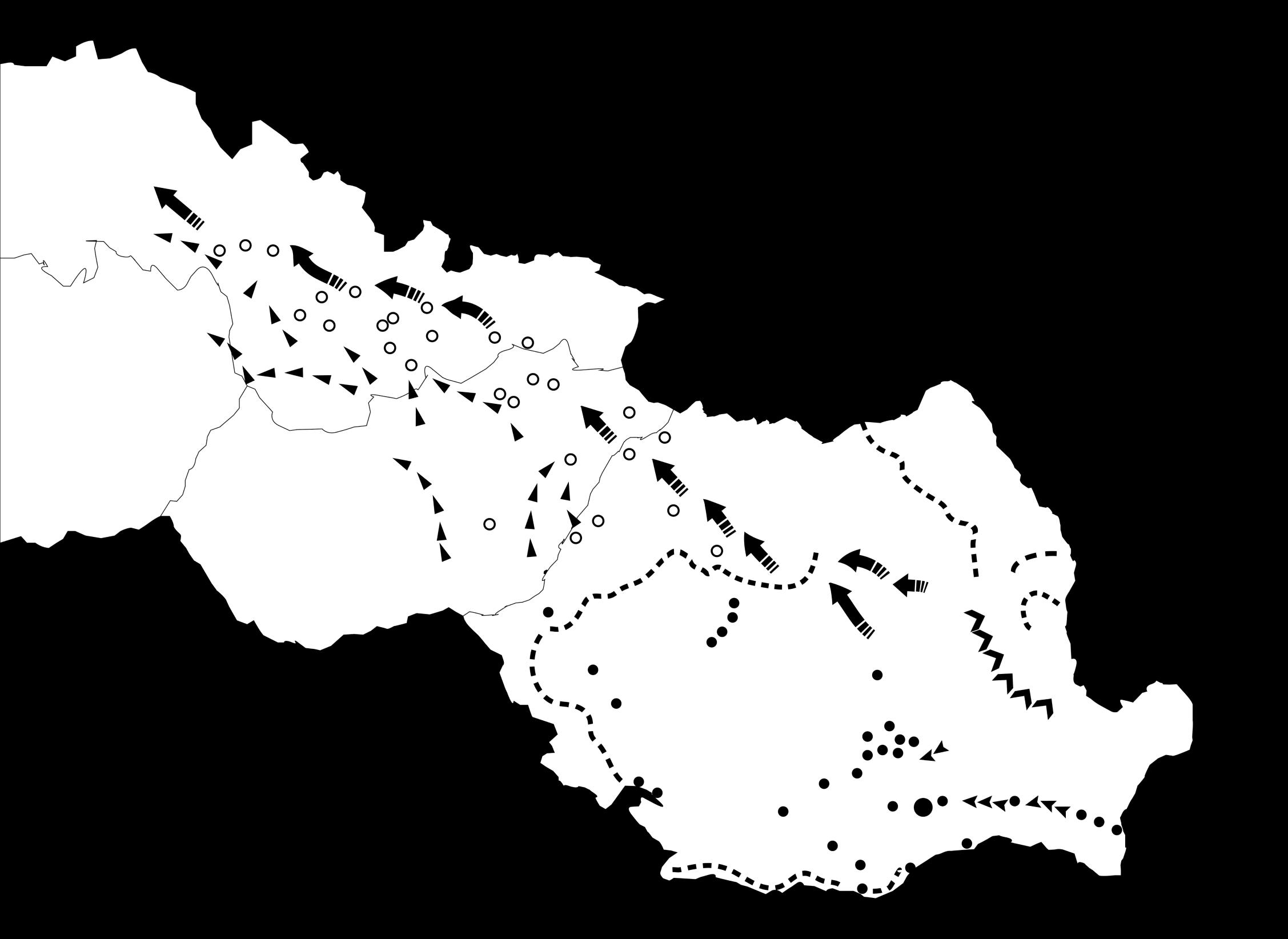Harta cu operațiunile armatelor române și sovietice pentru eliberarea Ardealului